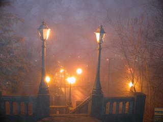Foggy lights in Galena